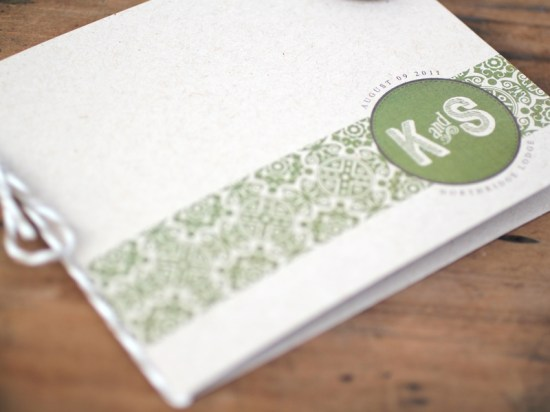Modern Green Kraft Typography Wedding Invitations Booklet 550x412 Kate + Steves Organic Modern Wedding Invitations