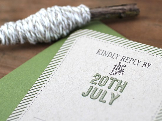 Modern Green Kraft Typography Wedding Invitations RSVP 550x412 Kate + Steves Organic Modern Wedding Invitations