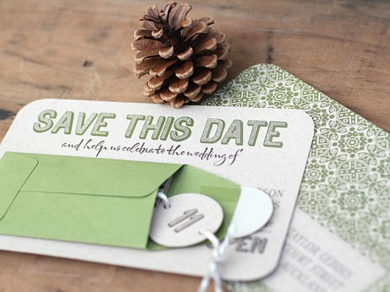 Modern Green Kraft Typography Wedding Invitations Save the Date3 550x412 Kate + Steves Organic Modern Wedding Invitations