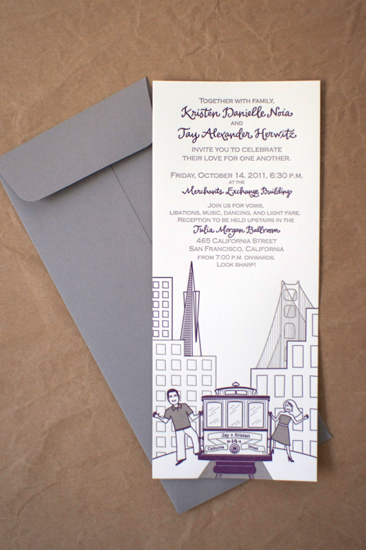 Modern Illustrated Letterpress Wedding Invitation Stinkerpants Kristen + Jays Modern Illustrated San Francisco Wedding Invitations
