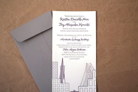 Modern Illustrated Letterpress Wedding Invitation Stinkerpants2 550x366 Kristen + Jays Modern Illustrated San Francisco Wedding Invitations