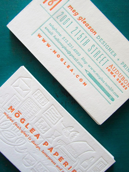 Orange Turquoise Letterpress Business Cards Meg Gleeson Business Card Ideas and Inspiration #10