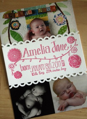 Pink Letterpress Photo Collage Baby Girl Birth Announcement 300x410 Sweet Pink Birth Announcements for Baby Amelia