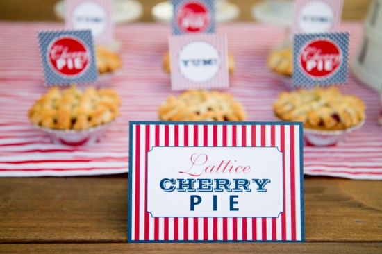 Red White Blue Wedding Stationery Pie Signs 550x366 Red, White + Blue Wedding Stationery Inspiration