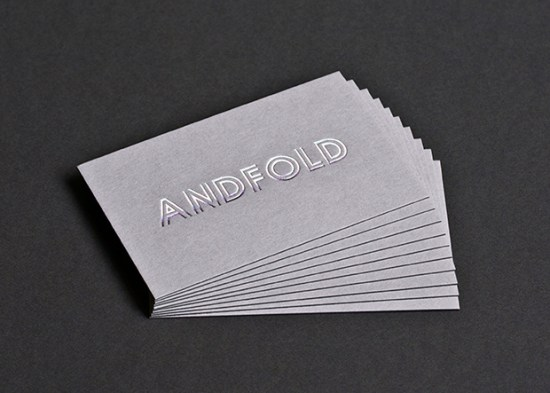 Silver Foil Gray Business Cards 550x393 Business Card Ideas and Inspiration #10