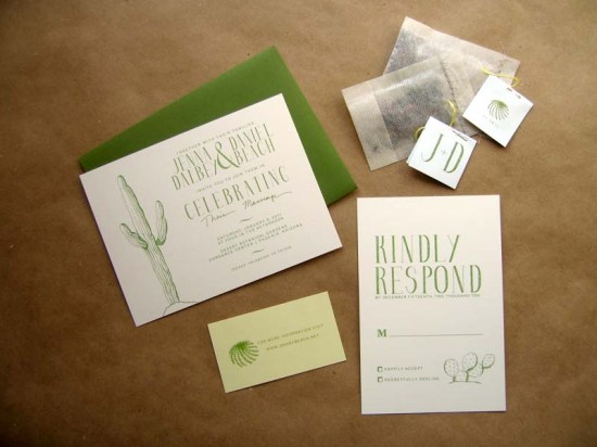 Cactus Green White Wedding Invitations2 550x412 Jenna + Daniels Desert Cactus Wedding Invitations