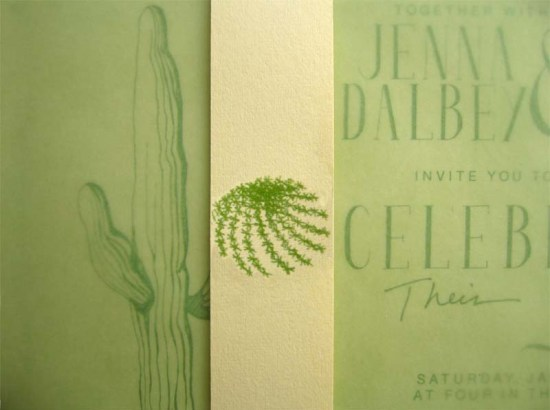 Cactus Green White Wedding Invitations4 550x410 Jenna + Daniels Desert Cactus Wedding Invitations