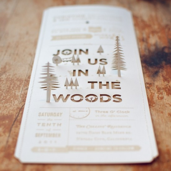 DIY Woodland Cutout Wedding Invitation3 550x550 Christine + Ians DIY Lasercut Woodland Wedding Invitations