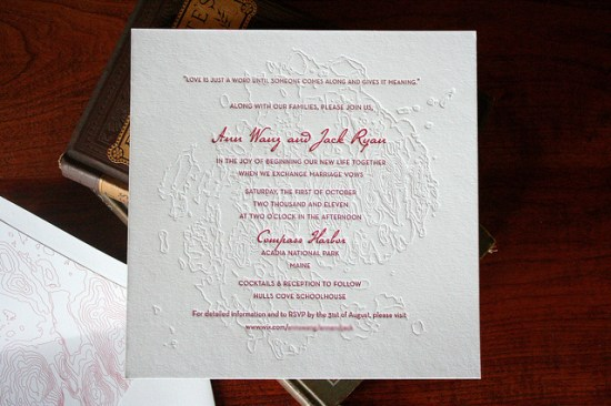 Topographic Map Letterpress Wedding Invitations 550x366 Topographic Map Wedding Invitations