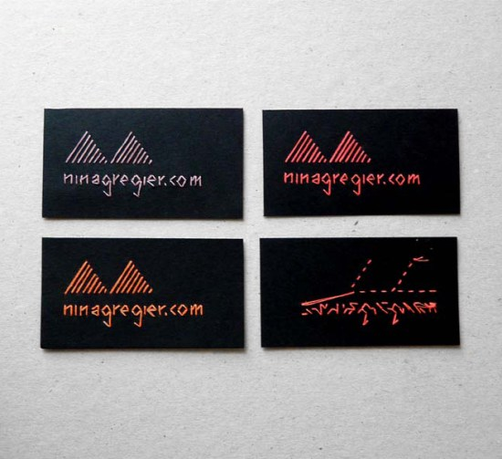 embroidered business cards2 550x503 Embroidered Business Cards and Artwork by Nina Gregier