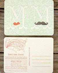 Custom Whimsical Wedding Invitations by Blackbird Letterpress