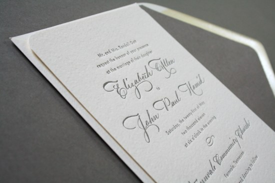 Classic Gray White Calligraphy Letterpress Wedding Invitations Arboreal2 550x366 Elizabeth + Johns Classic Calligraphy Wedding Invitations