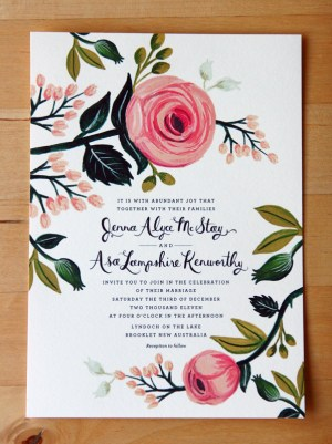 Floral Australia Wedding Invitation Rifle Paper Co2 300x401 Jenna + Asas Floral Wedding Invitations from Rifle Paper Co.