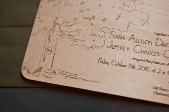 Laser Etched Wood Veneer Wedding Invitations Fourth Year Studio3 550x366 Sara + Jeffs Laser Etched Wood Veneer Wedding Invitations