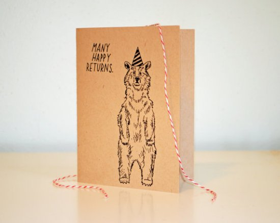Moikka Grizzly Bear Birthday Card 550x437 Sweet + Simple Illustrated Cards from Moikka