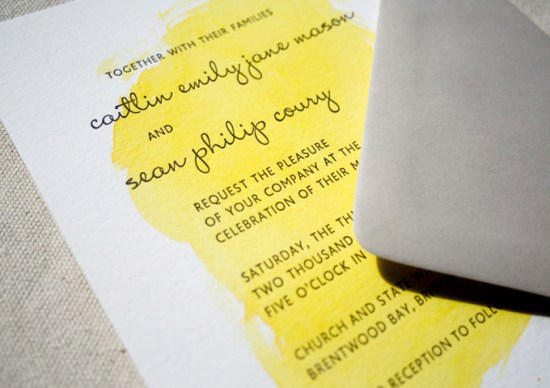 Painterly Yellow Letterpress Wedding Invitations Constellation Co3 550x388 Caitlin + Seans Watercolor Wedding Invitations