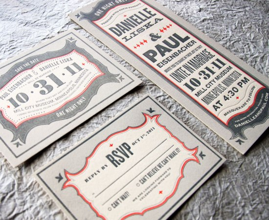 Wit Delight Gray Red Halloween Letterpress Wedding Invitations Suite 550x450 Danielle + Pauls Vintage Inspired Marquee Halloween Wedding Invitations