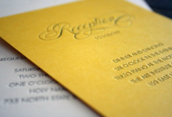 Yellow Gray Elegant Letterpress Wedding Invitations Reception Card 550x373 Katie + Alexs Elegant Chicago Map Wedding Invitations