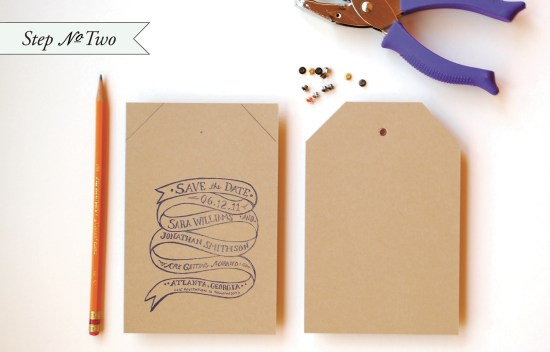 edge paint21 550x352 DIY Tutorial: Rubber Stamp Edge Painted Save the Date Tags