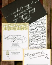 Custom Whimsical Letterpress Wedding Invitations by Gus & Ruby Letterpress