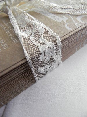 Kraft Paper Lace Wedding Invitations2 300x400 Giada + Davides Kraft Paper and Lace Wedding Invitations
