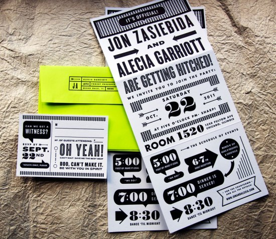 Neon Black White Graphic Wedding Invitations Kate Gabriel Suite 550x476 Alecia + Jons Black, White, and Neon Graphic Wedding Invitations