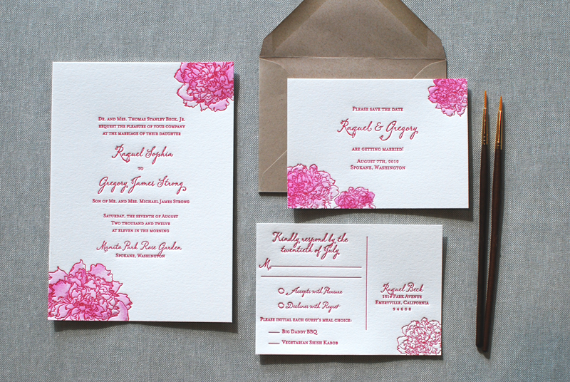 Watercolor Letterpress Wedding Invitations from The Aerialist Press