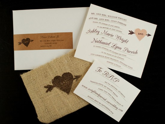 Rustic Whimsical Burlap Wedding Invitations 550x412 Ashley + Nathans Whimsical and Rustic Burlap Wedding Invitations