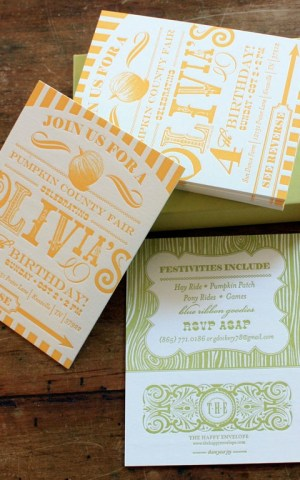 Yellow Letterpress 4th Birthday Party Invitations7 300x480 Olivias Country Carnival Inspired Birthday Party Invitations