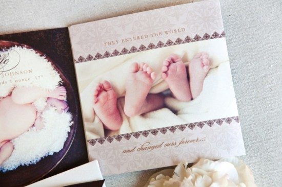 Elegant Birth Announcements for Twins6 550x366 Suzannes Elegant Baby Announcements for Twins!