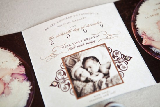 Elegant Birth Announcements for Twins7 550x367 Suzannes Elegant Baby Announcements for Twins!