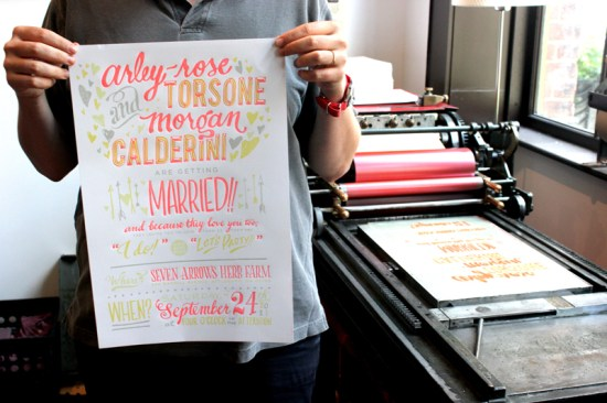 Ladyfingers Letterpress Neon Hand Lettering Wedding Invitations 550x366 Arley Rose + Morgans Neon Wedding Invitations