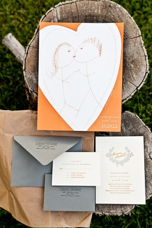 Orange Gray Letterpress Fall Wedding Invitations3 300x449 Lauren + Andrews Orange and Gray Fall Wedding Invitations