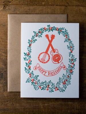 Wild Horse Letterpress Guitar Holiday Card 300x400 2011 Holiday Card Round Up, Part 2