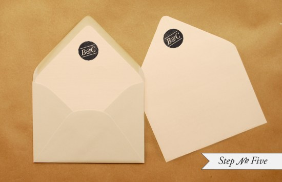 DIY Rubber Stamp Banner Wedding Invitation Tutorial Step 5 550x355 DIY Tutorial: Rubber Stamp Banner Wedding Invitations
