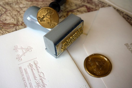 Elegant Pink Letterpress Brooklyn Wedding Invitations Gold Wax Seal 550x366 Amarides + Aarons Brooklyn Wedding Invitations