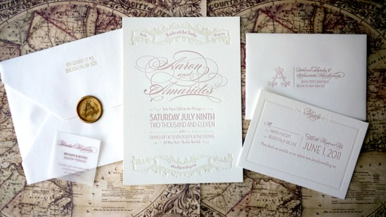 Elegant Pink Letterpress Brooklyn Wedding Invitations Suite 550x309 Amarides + Aarons Brooklyn Wedding Invitations