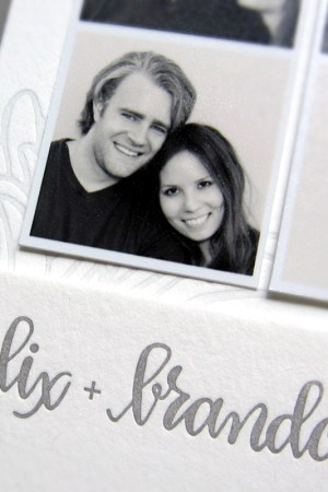 Gray Letterpress Wedding Save the Dates Ephemera Press3 300x450 Alix + Brandons Photostrip and Letterpress Save the Dates