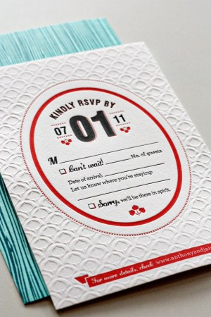 Modern Aspen Forest Letterpress Wedding Invitation 300x450 Best of 2011: Jaime + Anthonys Modern Woodgrain Wedding Invitations