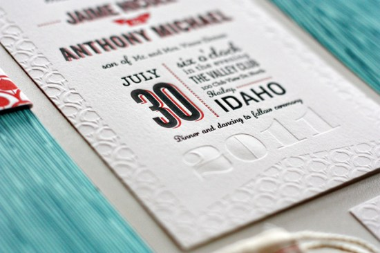 Modern Aspen Forest Letterpress Wedding Invitations Detail 550x366 Best of 2011: Jaime + Anthonys Modern Woodgrain Wedding Invitations