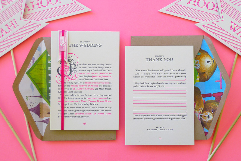 Best of 2011 Neon Storybook Wedding Invitations