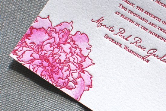 Peony Letterpress Watercolor Wedding Invitations Aerialist Press2 550x368 Best of 2011: Watercolor