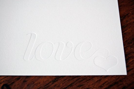 12fifteen blind stamp valentine card 550x365 Seasonal Stationery: Valentines Day Cards, Part 2