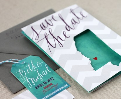 Beth + Michael's Chevron Stripe + Calligraphy Save the Dates