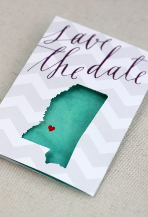Chevron Stripe Calligraphy Wedding Save the Dates August Blume81 300x441 Beth + Michaels Chevron Stripe Calligraphy Save the Dates