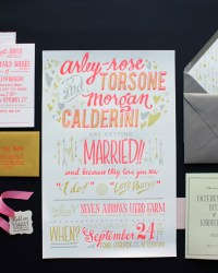 Unique Non Traditional Letterpress Wedding Invitations by Ladyfingers Letterpress