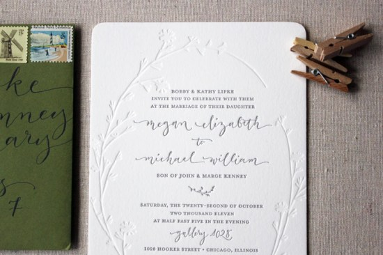 Letterpress Calligraphy Wedding Invitations Ruby the Fox2 550x366 Megan + Mikes Modern Organic Chicago Wedding Invitations