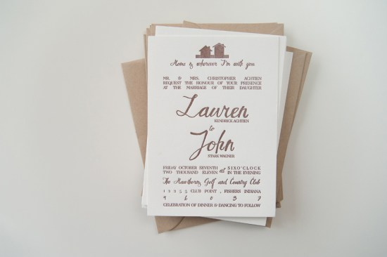 Rustic Letterpress Wedding Invitations Three Fifteen Design3 550x366 Lauren + Johns Rustic Home Letterpress Wedding Invitations