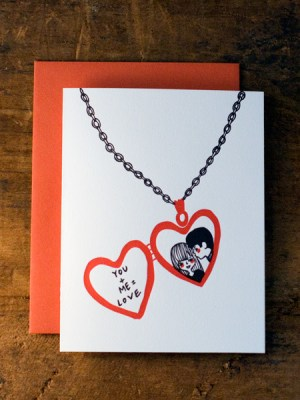 Wildhorse Letterpress Valentine Love Locket 300x400 Seasonal Stationery: Valentines Day Cards, Part 2