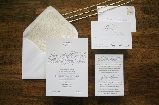 Calligraphy Letterpress Wedding Invitations Parrott Design Studio Betsy Dunlap 550x366 Paige + Michaels Elegant Calligraphy Wedding Invitations